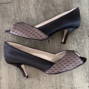CAPARROS Black/Nude Satin and Lace Peep-toe Pumps